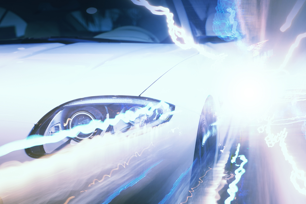 Close up image of car headlight. Front view